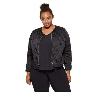 NWT Ava & Viv Quilted Bomber Jacket Plus 4X Black